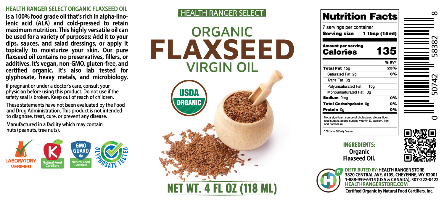 Organic Virgin Flaxseed Oil 4 fl oz (118ml) (6-Pack)
