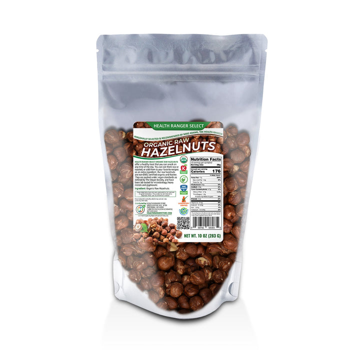 Organic Raw Almonds 1lb + Organic Raw De-shelled Hazelnuts With Skin 10 oz (BOTH Non-fumigated, Unpasteurized, Non-irradiated)