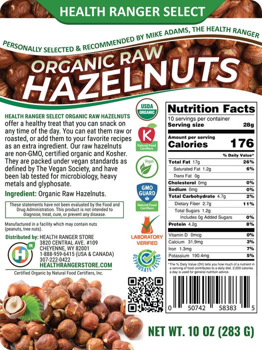 Organic Raw De-shelled Hazelnuts With Skin 10 oz - (Non-fumigated, Unpasteurized, Non-irradiated) (3-Pack)