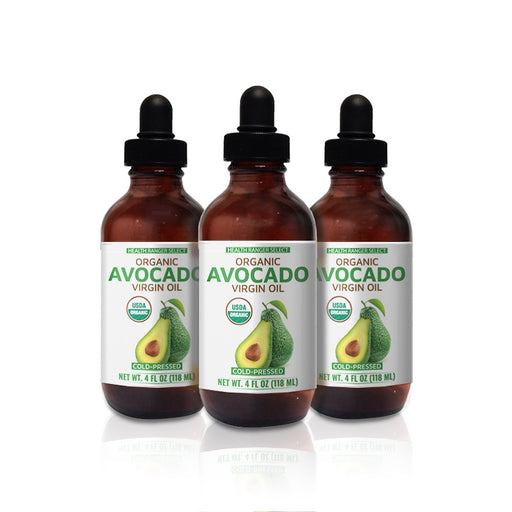 Organic Avocado Virgin Oil (Cold-Pressed) 4 fl oz (118 ml) (3-Pack)
