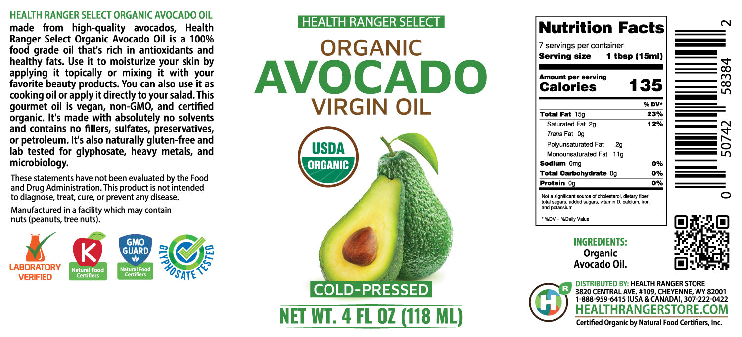 Organic Avocado Virgin Oil (Cold-Pressed) 4 fl oz (118 ml) (6-Pack)