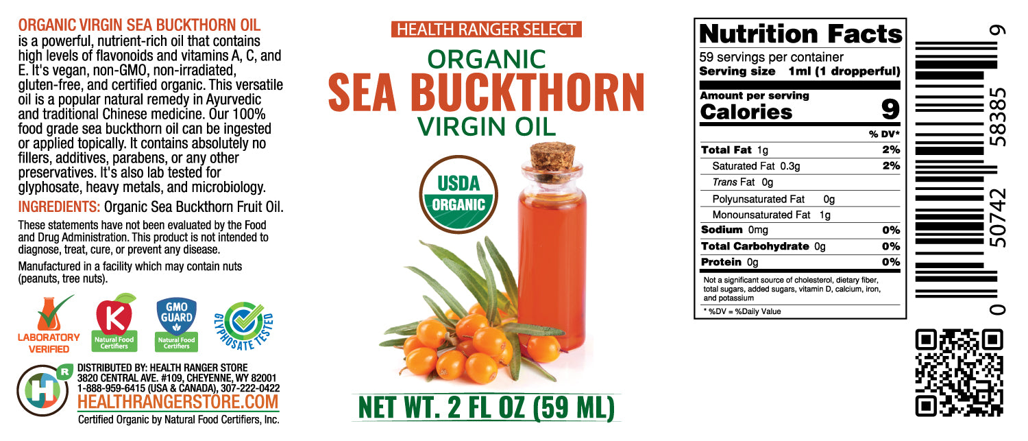 Organic Sea Buckthorn Virgin Oil 2 fl oz (59 ml) (6-Pack)