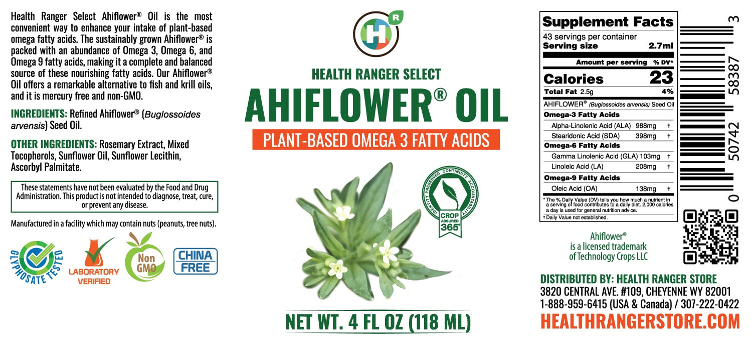 Ahiflower® Oil 4 fl oz (118ml) - Plant-Based Omega 3-6-9 (6-Pack)