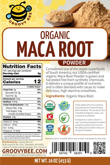Groovy Bee® Organic Maca Root Powder 16oz (453g)