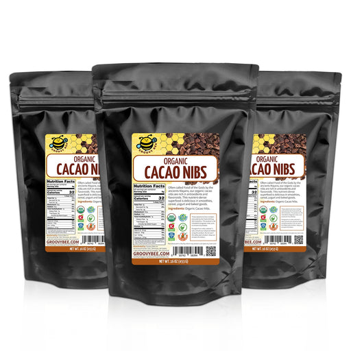 Groovy Bee® Organic Raw Cacao Nibs 16oz (453g) (3-Pack)