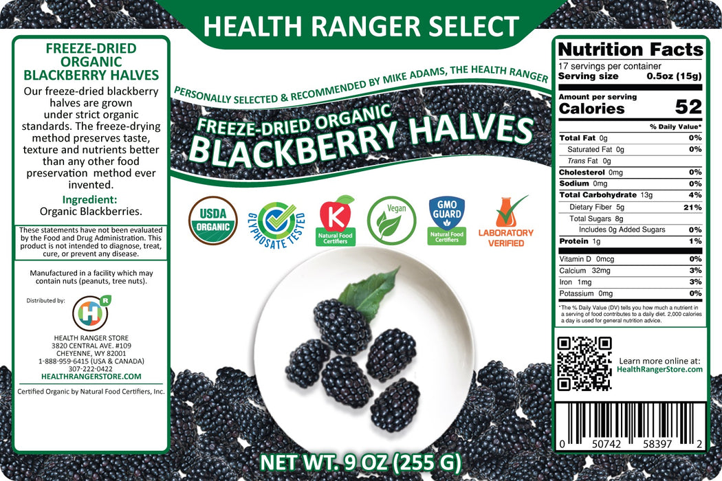 Freeze-Dried Organic Blackberry Halves (9oz, #10 can) (2-Pack)