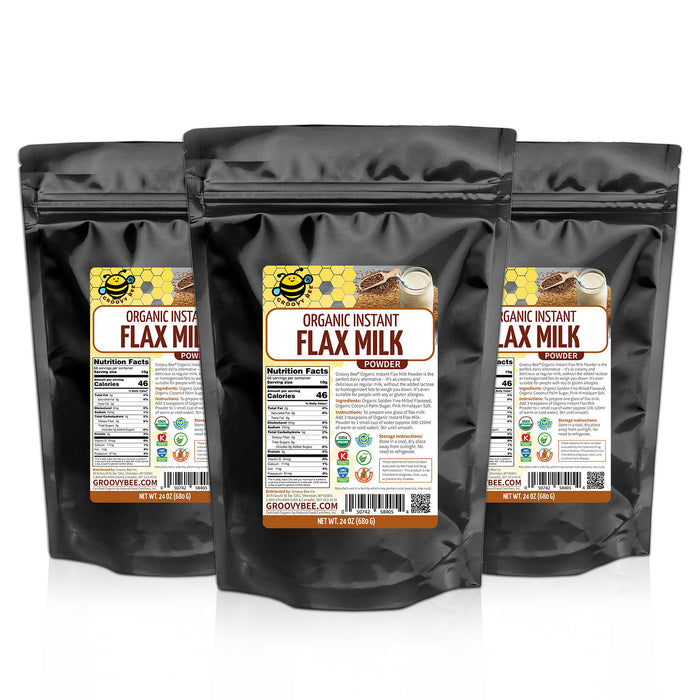 Groovy Bee® Organic Instant Flax Milk Powder 24 oz (680g) (3-Pack)
