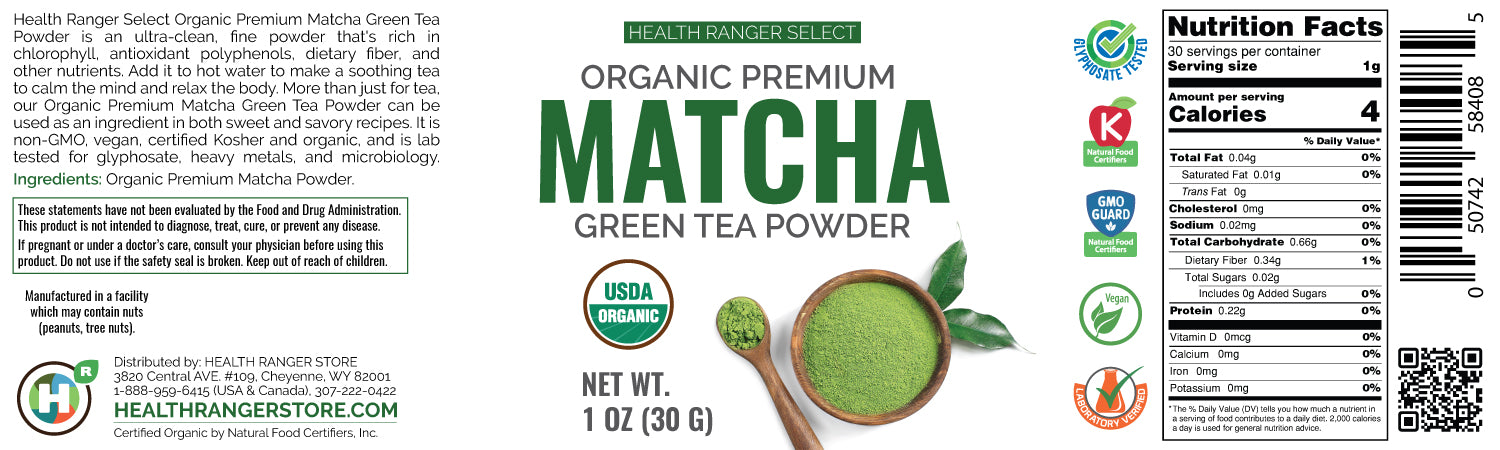 Organic Premium Matcha Green Tea Powder 1 oz (30g) (3-Pack)
