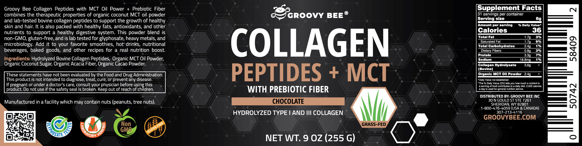 Groovy Bee® Collagen Peptides + MCT with Prebiotic Fiber - Chocolate 9 oz (255g) (6-Pack)