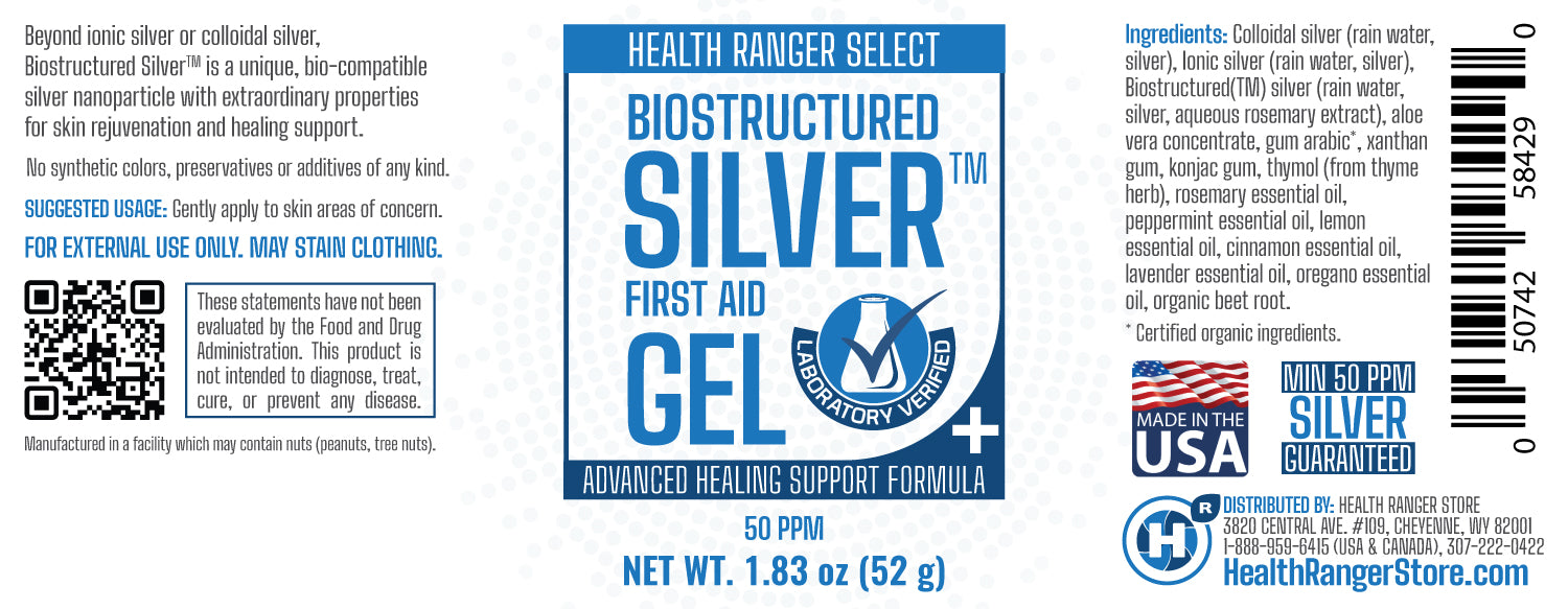 Biostructured Silver (™) First Aid Gel 1.83 oz (52g) (6-Pack)