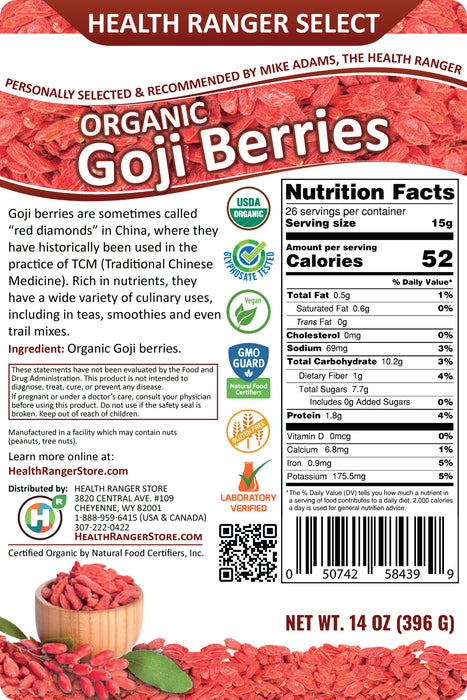 Organic Goji Berries 14 oz (396g) (3-Pack)