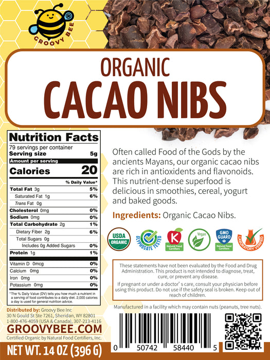 Groovy Bee® Organic Raw Cacao Nibs 14oz (396g) (6-Pack)