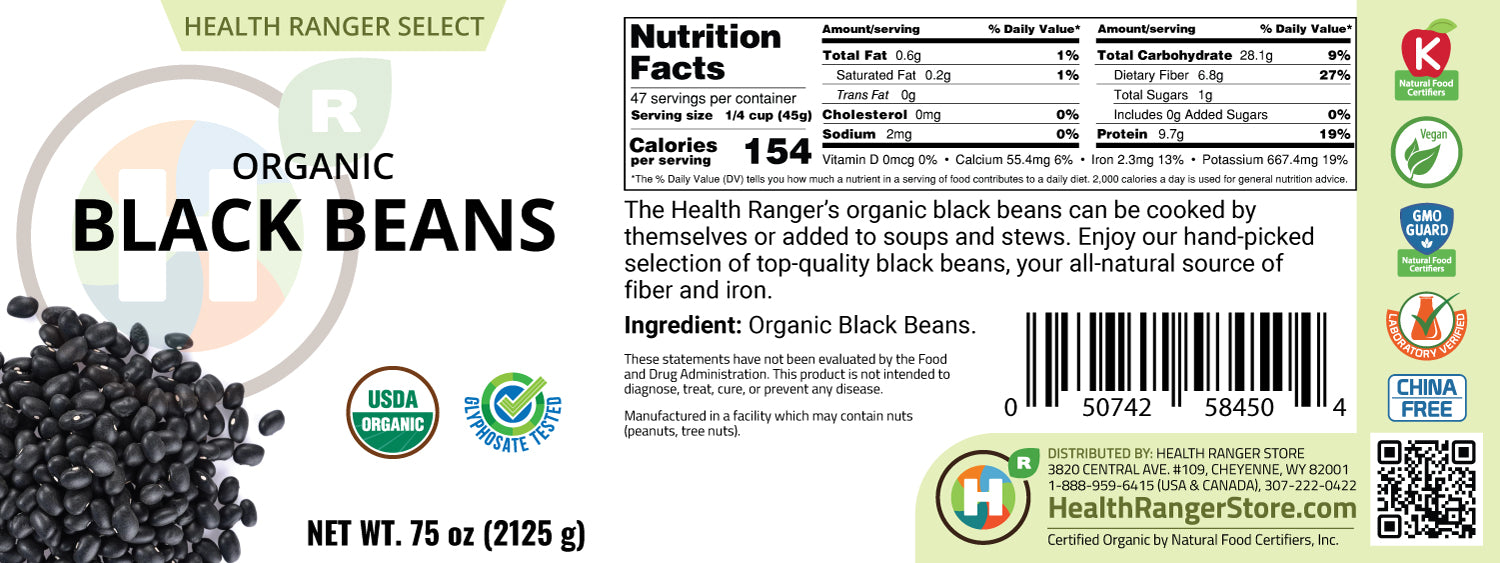 Mini Bucket - Organic Black Beans 75oz (2125g)