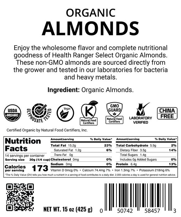 Organic Almonds 15oz (425g)