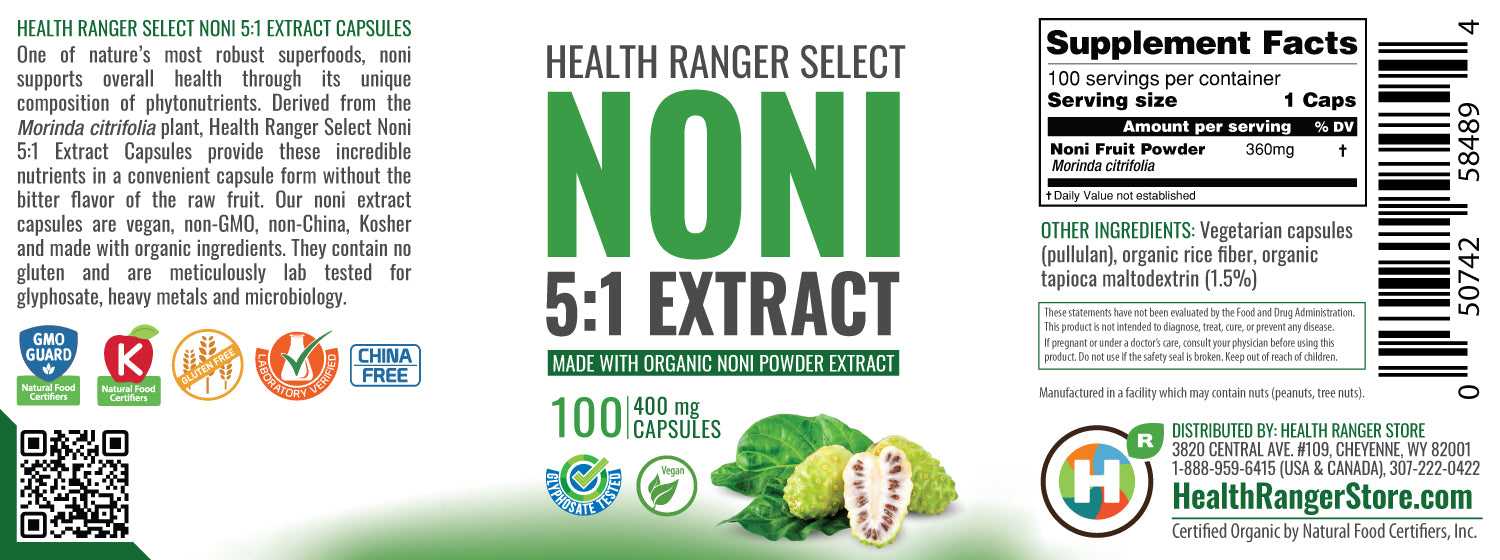 Noni 5:1 Extract 100 Caps (400mg each) (Made With Organic Ingredients)