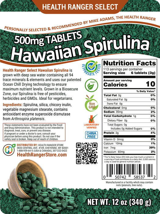 Hawaiian Spirulina Cold Pressed 500mg Tablets 12 oz (340g)