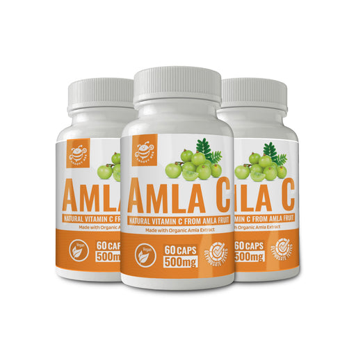 Amla C (Natural Vitamin C from Amla Fruit) 60 Caps (500 mg each) (Made With Organic Ingredients) (3-Pack)