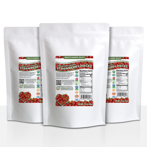 Freeze-Dried Organic Strawberry Pieces 1.5 oz (43 g) (3-Pack)