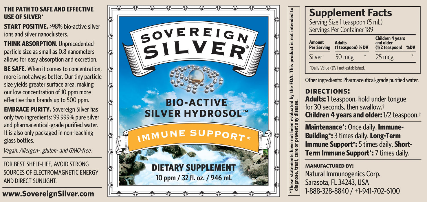 Sovereign Silver Bio-Active Silver Hydrosol - 10 ppm (32oz)