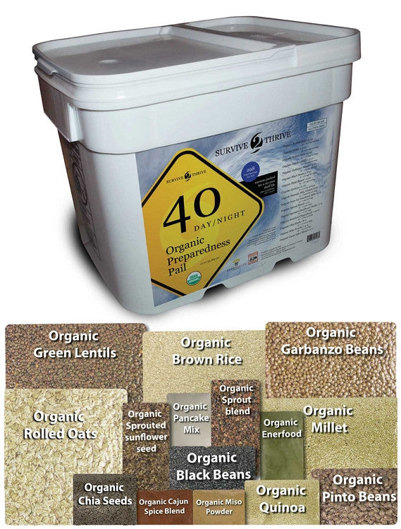 Survive2Thrive Pail 40 Days/Nights Organic Emergency Survival Food Supply