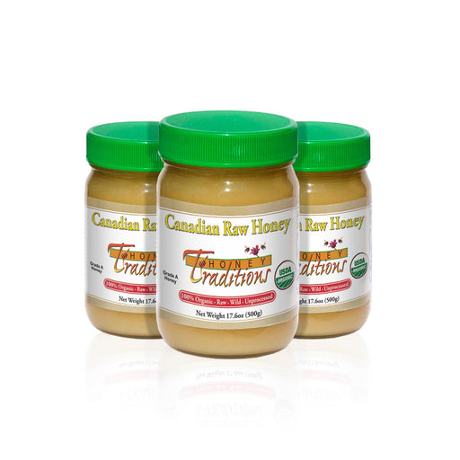 Tropical Traditions Canadian Raw Honey 17.6 oz (3-Pack)