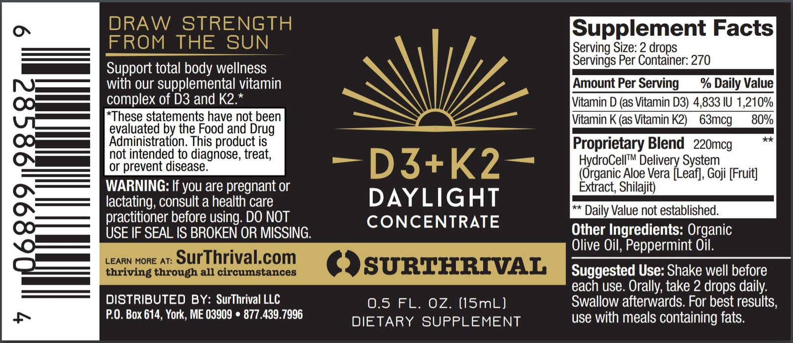 D3+K2 Daylight Concentrate 0.5 fl oz (15 ml)