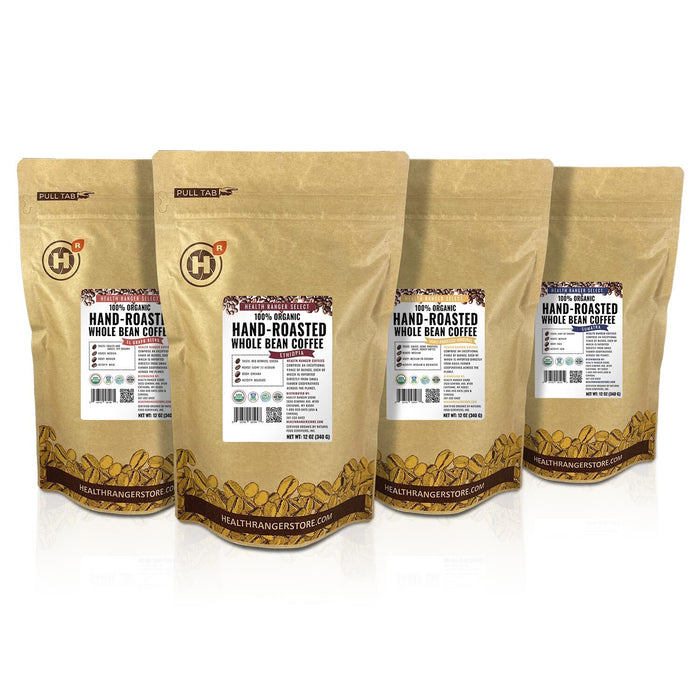 100% Organic Hand-Roasted Whole Bean Coffee Variety B (4-Pack)