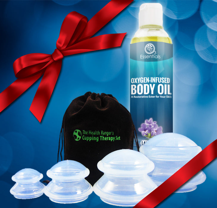 Cupping Therapy Set + Oxygen-Infused Body Oil - Lavender 4oz (118ml)