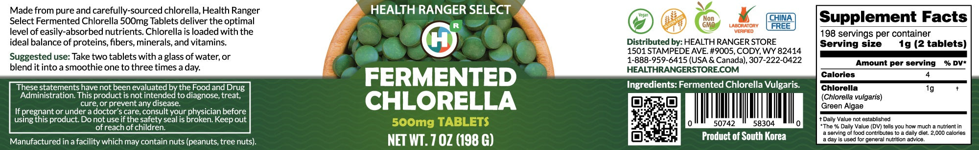 Fermented Chlorella tablets 500mg Tabs 7oz (198g)