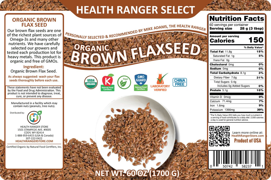 Organic Brown Flax Seeds - Whole, Non-GMO - 60oz (#10 Can, 1700g) (2-Pack)