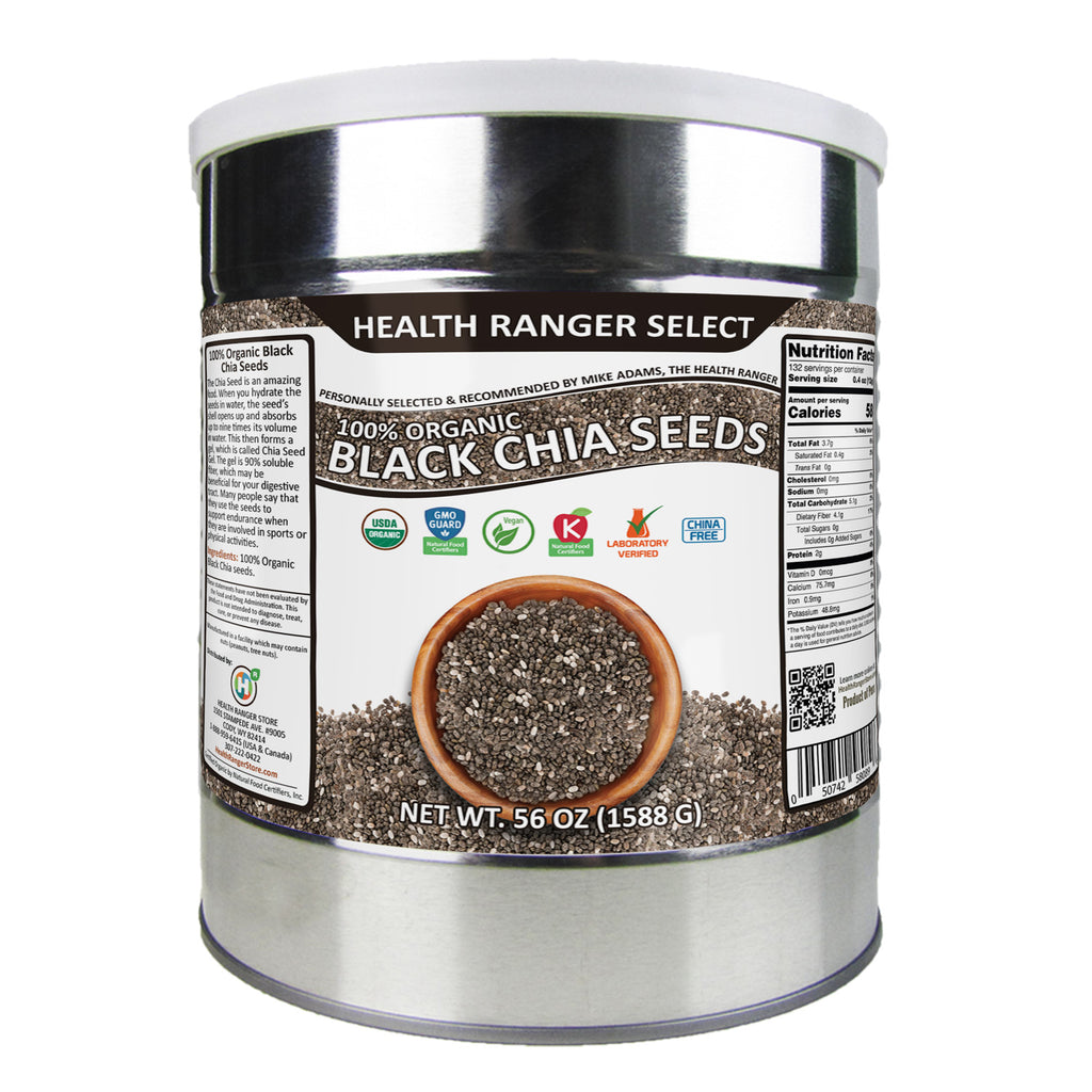 100 % Organic Black Chia Seeds - 56 oz, #10 can