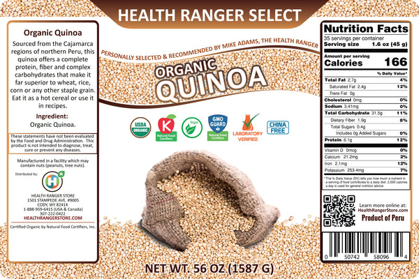 Health Ranger Select Organic Quinoa 56oz (#10 Can, 1587g)