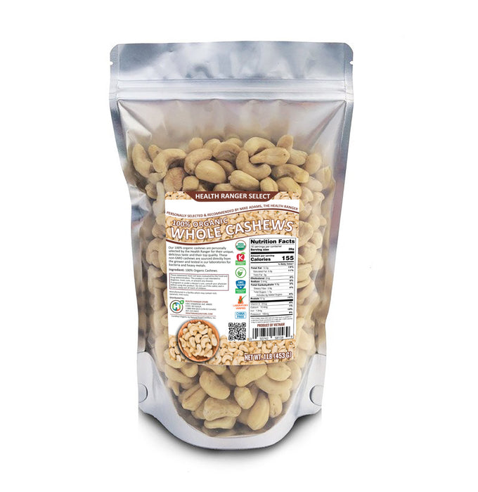 100% Organic Cashews (Whole), 1lb (453g)