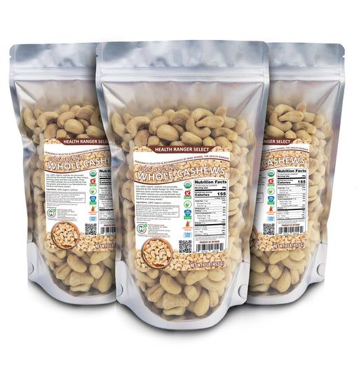 100% Organic Cashews (Whole), 1lb (453g) (3-Pack)
