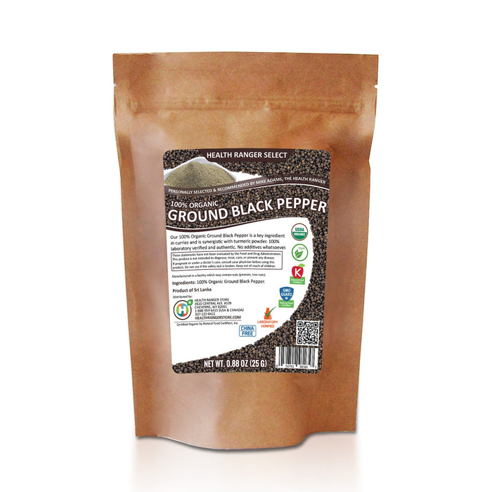100% Organic Ground Black Pepper (0.88oz) (25g) (3-Pack)