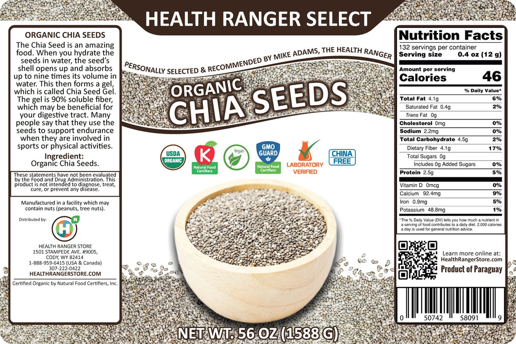 Organic Chia Seeds 56oz, #10 can (2-Pack)