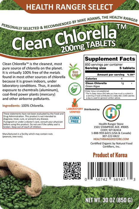 Clean Chlorella 200mg Tablets (30oz, 850g), approximately 4250 tablets