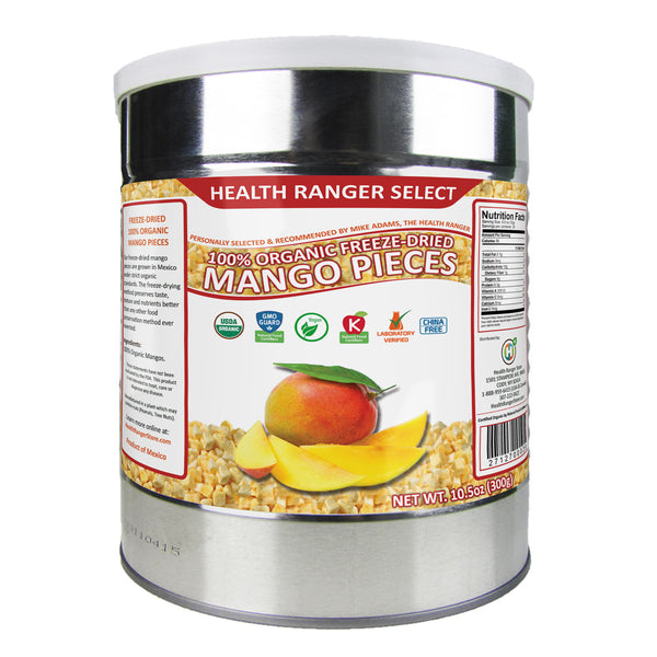 Freeze-Dried 100% Organic Mango Pieces (10.5oz, #10 can)
