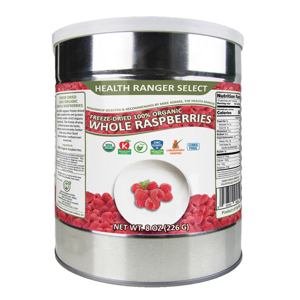 Freeze-Dried 100% Organic Whole Raspberries (8oz, #10can)