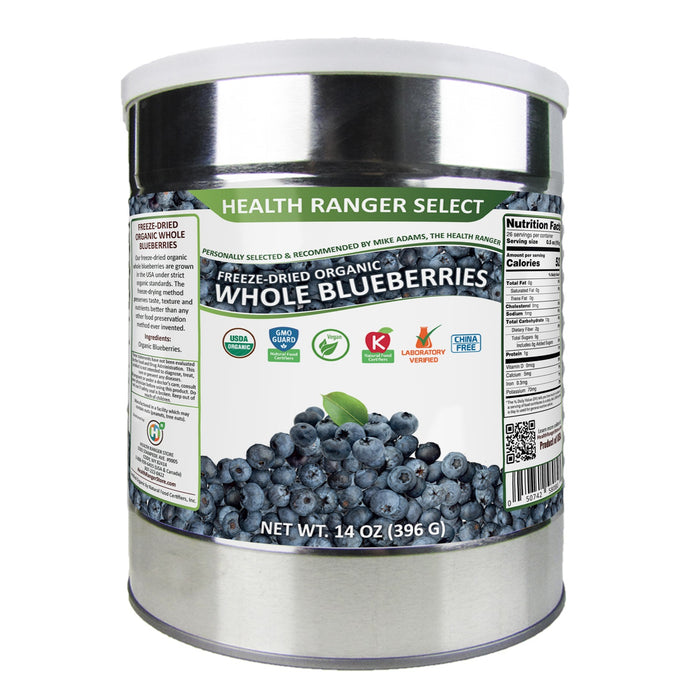 Freeze-Dried Organic Whole Blueberries (14oz, #10 can) (2-Pack)