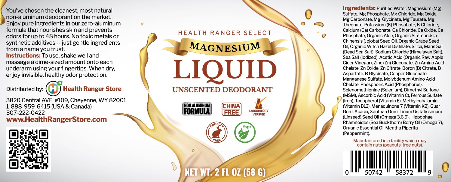 Magnesium Liquid Unscented Deodorant 2fl oz (58g) (Over 3 Month Supply)*