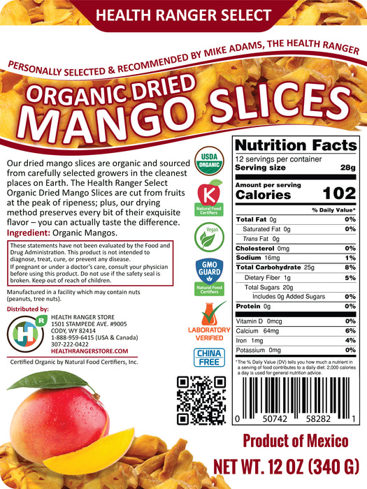 Organic Dried Mango Slices 12oz (340g), Sulfite Free, No Added Sugar, Premium Grade, Freshly Packed