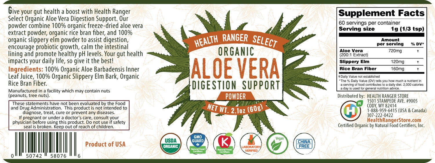 Aloe Vera Digestion Support Powder 2.1oz (60g) (6-Pack)