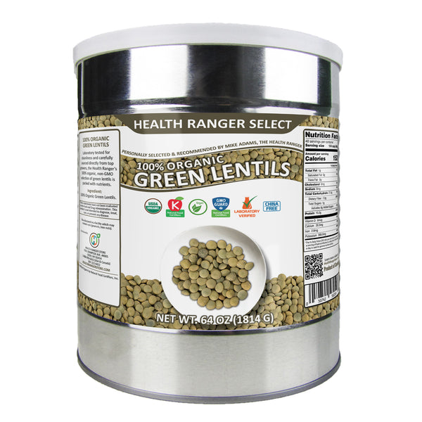 100% Organic Green Lentils (64oz, #10 Can)
