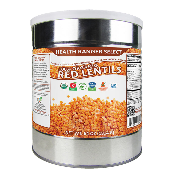100% Organic Green and 100% Organic Red Lentils (64oz, #10 Can) Combo Pack