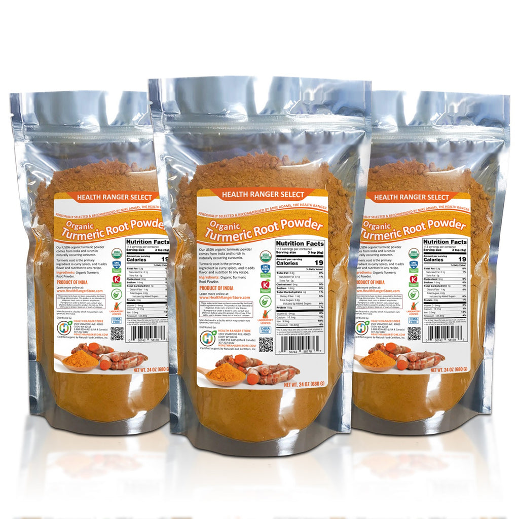 Organic Turmeric Root Powder (24oz) (680g) (3-Pack)