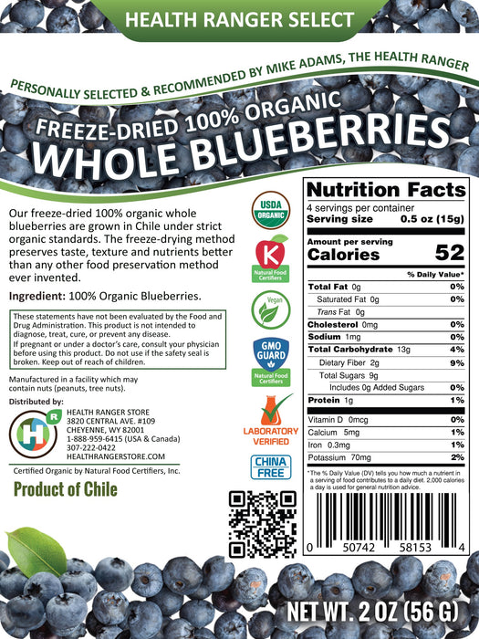 Freeze-Dried Organic Whole Blueberries (2oz)