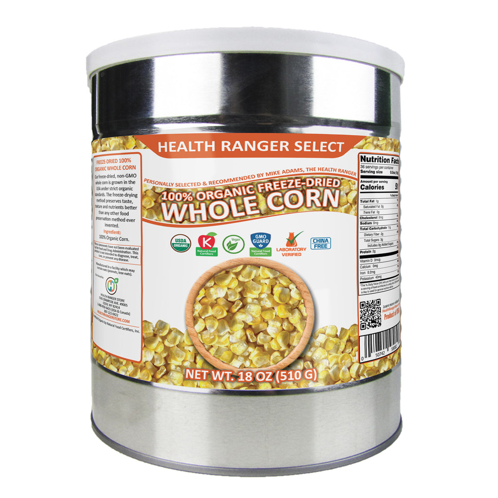 Freeze-Dried 100% Organic Whole Corn (18oz, #10 can)