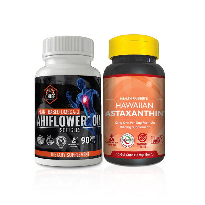 Health Ranger's Hawaiian Astaxanthin + Ahiflower Oil - Plant-Based Omega 3-6-9 Combo Pack