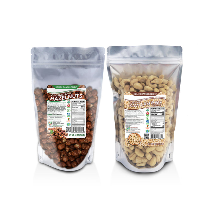 Organic Raw Cashews 12oz + Organic Raw De-shelled Hazelnuts With Skin 10 oz (BOTH Non-fumigated, Unpasteurized, Non-irradiated)